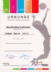 1. Platz bei den Mülheimer Schulmeisterschaften Fußball 2013