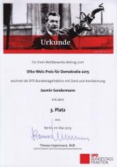 Urkunde Otto-Wels-Preis 2015
