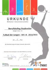 1. Platz bei den Mülheimer Schulmeisterschaften Fußball 2015